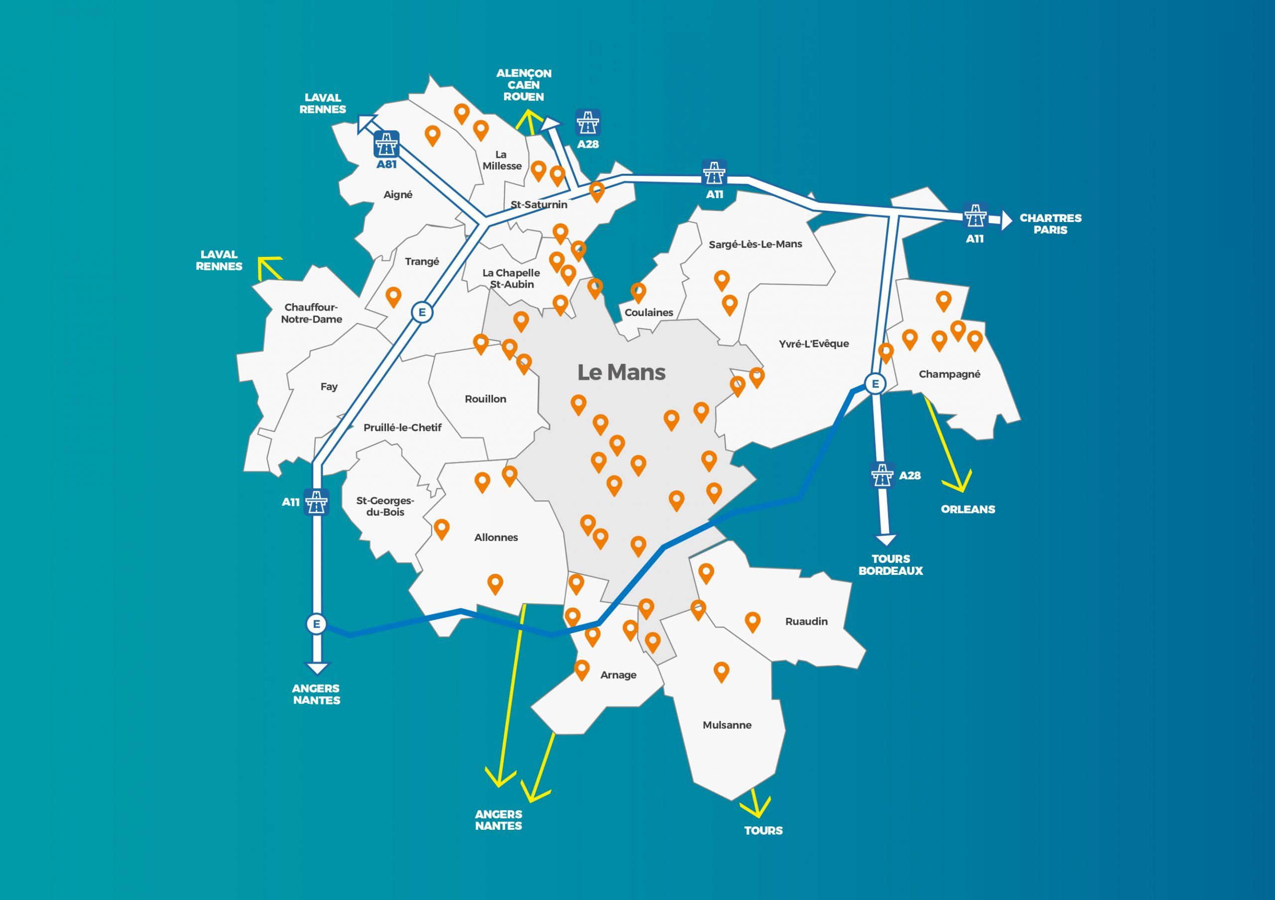 carte Le Mans metropole